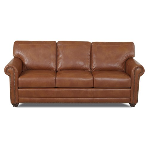 Elliston Place Sherman Traditional Sofa with Nailhead Trim and Rolled Arms
