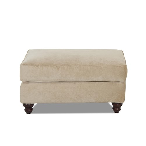 Elliston Place Sinclair Traditional Ottoman with Turned Wood Feet
