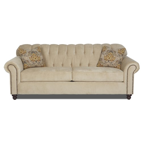 Klaussner Sinclair Traditional Stationary Sofa with Rolled Arms and Nailhead Trim