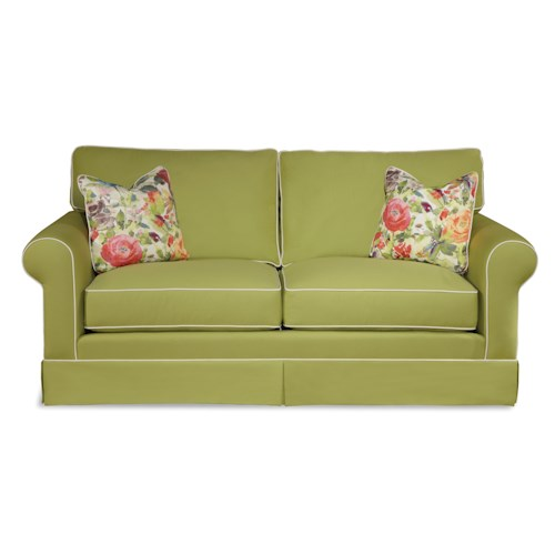 Elliston Place Southern Shores Traditional Sofa with Rolled Arms and Skirted Base