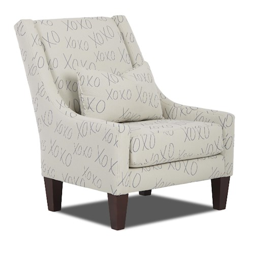 Elliston Place St Cloud Transitional Occasional Chair with Sloping Back and Kidney Pillow