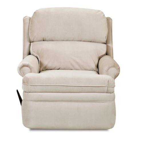 Elliston Place Sylvan Traditional Swivel Rocking Reclining Chair with Rolled Arms and Wing Back