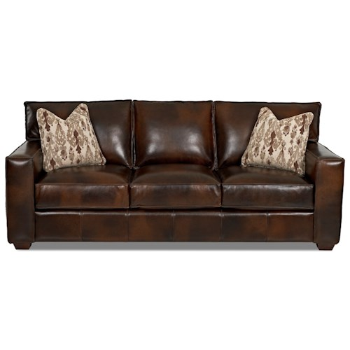 Elliston Place Tillery Contemporary Sofa with Track Arms and Pillows