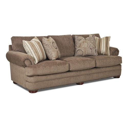 Elliston Place Tolbert Traditional Sofa with Rolled Arms and Nailhead Trim