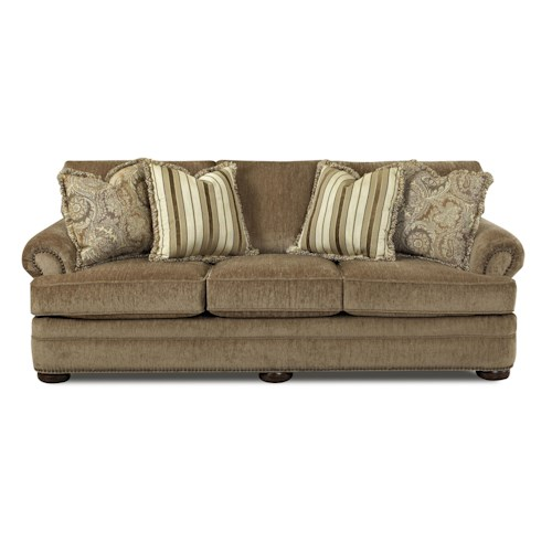 Elliston Place Tolbert Traditional Sofa with Rolled Arms and Fringe Pillows