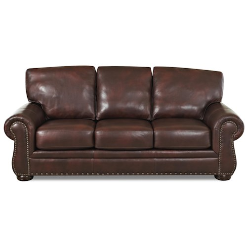 Elliston Place Tomoka Transitional Leather Stationary Sofa with Nail Head Trim