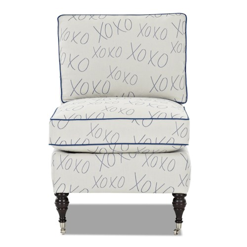Elliston Place Trixie Traditional Armless Accent Chair with Casters and Turned Feet
