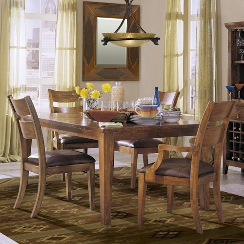 Morris Home Furnishings Tuscon 5-Piece Dining Table Set with 2 Arm Chairs and 2 Side Chairs