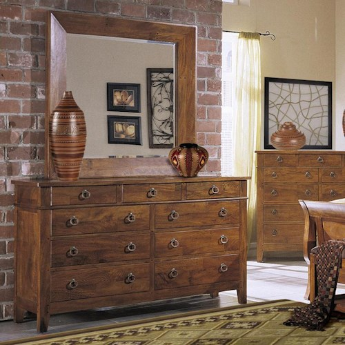 Morris Home Furnishings Tuscon 9 Drawer Dresser & Mirror