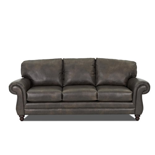 Elliston Place Valiant  Leather Sofa with Rolled Arms