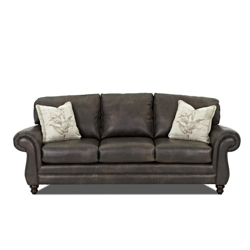 Elliston Place Valiant  Leather Sofa with Accent Pillows