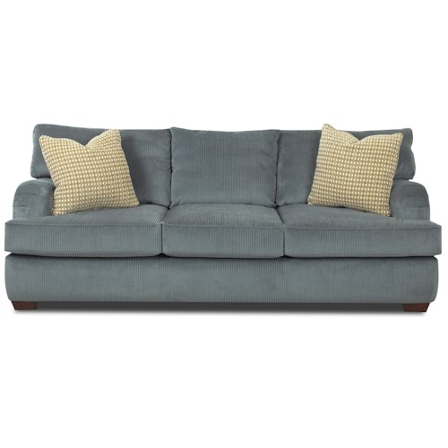 Elliston Place Vaughn Stationary Sofa with Pleating Details