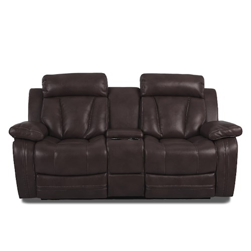 Klaussner International  Atticus-US Casual Console Reclining Loveseat with Cupholders
