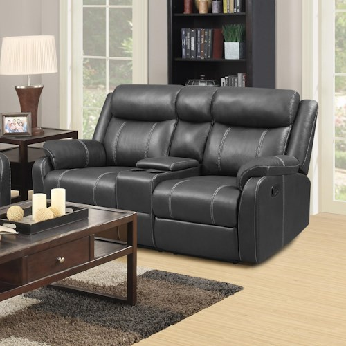 Klaussner International  Domino-US Casual Console Reclining Loveseat