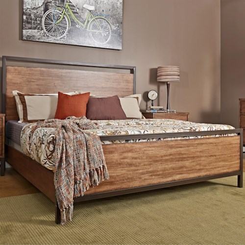 Morris Home Furnishings Tribecca Queen Panel Bed with Square Legs