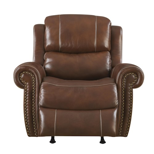Klaussner International Alomar-US Traditional Power Reclining Chair with Rolled Arms and Nailhead Trim