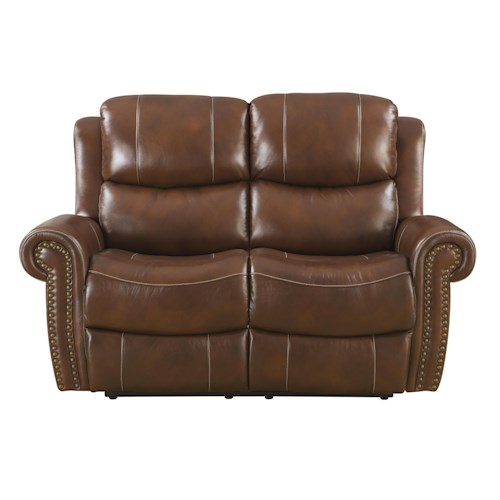 Klaussner International Alomar-US Traditional Power Reclining Love Seat with Rolled Arms and Nailhead Trim