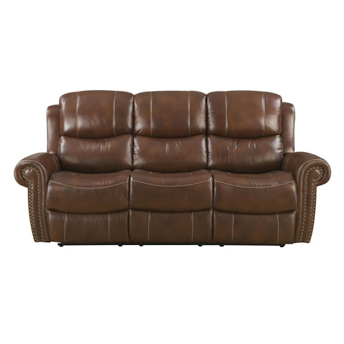 Belfort Basics Alomar Traditional Reclining Sofa with Rolled Arms and Nailhead Trim
