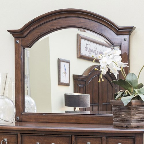Morris Home Furnishings Livingston Cherry Panel Mirror with Bolt Covers