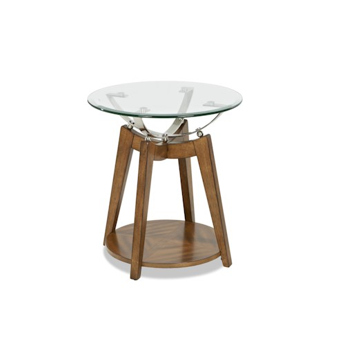 Klaussner International Ellipse Retro Style End Table with Round Glass Top