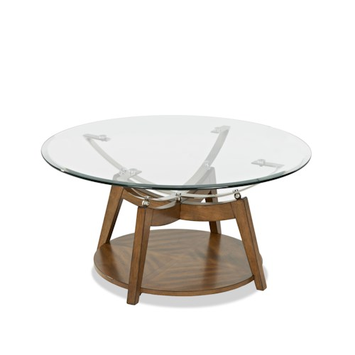 Klaussner International Ellipse Cocktail Table with Glass Top
