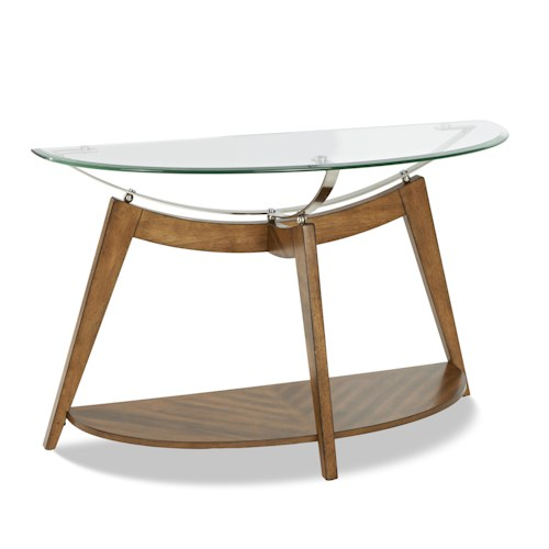 Klaussner International Ellipse Sofa Table with Demi-Lune Glass Top