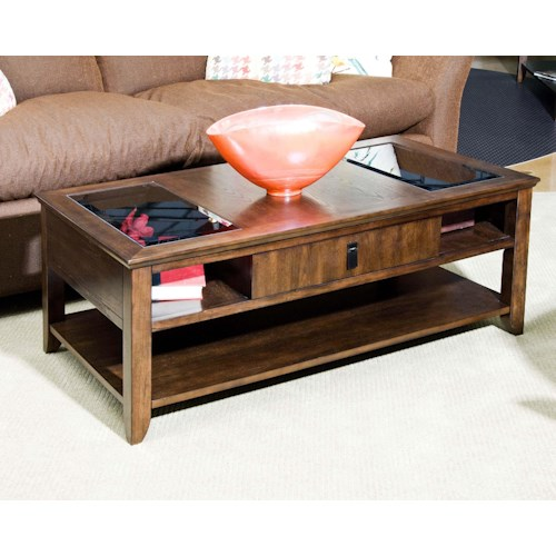 Morris Home Furnishings Falls Ave Falls Ave Contemporary Rectangular Cocktail Table with Smoked Glass Inset Panels
