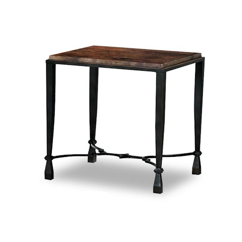 Morris Home Furnishings La Pinta End Table with Acid Washed Copper Top and Square Tubing Legs