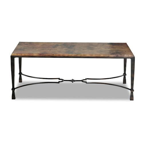 Belfort Basics La Pinta Cocktail Table with Acid Washed Copper Top and Square Tubing Legs