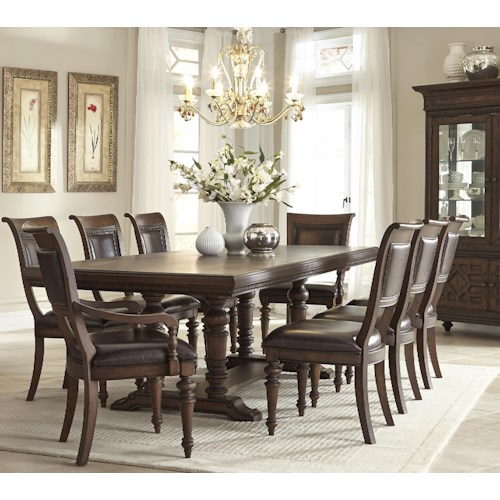 Klaussner International Palencia Rectangular Trestle Dining Table with 2 Upholstered Arm Chairs and 6 Upholstered Side Chairs