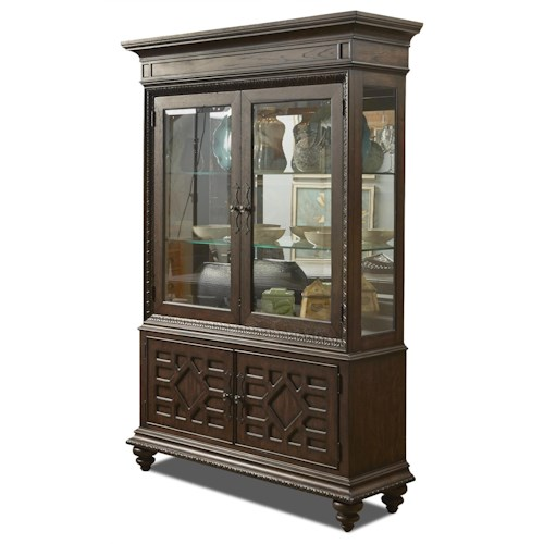 Klaussner International Palencia Curio with Turned Legs and Crown Molding