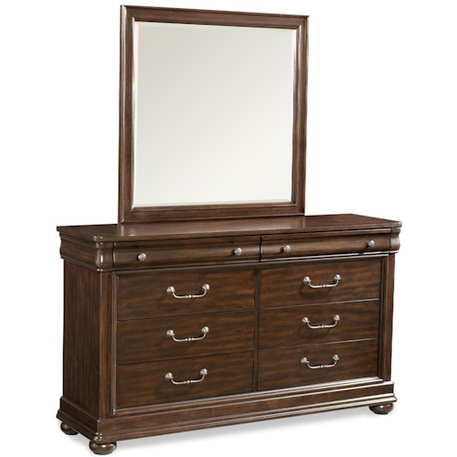 Klaussner International Parkview Transitional 8 Drawer Dresser and Mirror