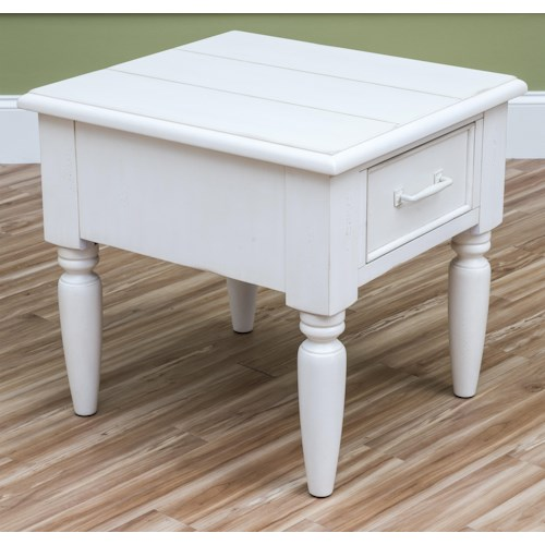 Easton Collection Sea Breeze Beachcomber-White Rectangle End Table