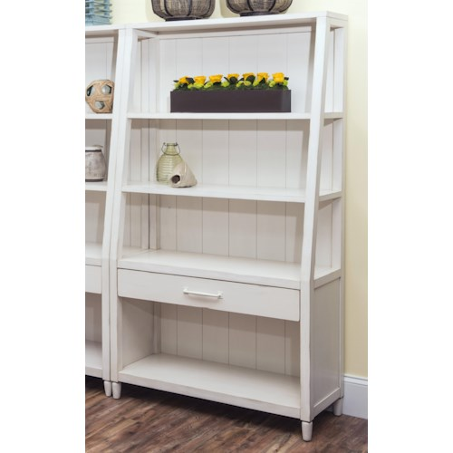 Easton Collection Sea Breeze Splish Splash-White Bookcase with Shelving and Drawer
