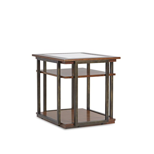 Klaussner International Skylines End Table with 2 Wood Shelves and Metal Frame