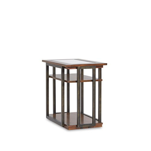 Klaussner International Skylines Chairside Table with 2 Wood Shelves and Glass Top