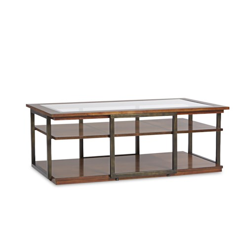 Klaussner International Skylines Contemporary Cocktail Table with Glass Top and Metal Frame