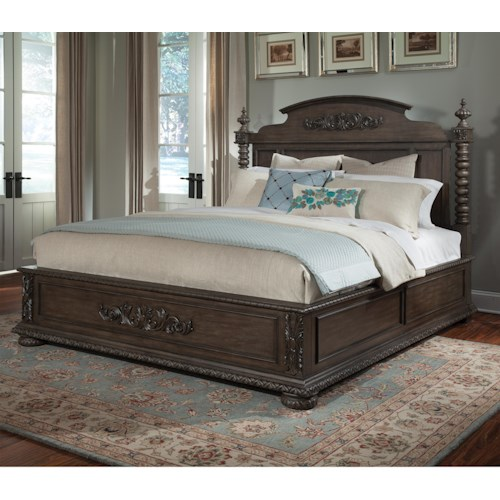 Belfort Basics Virginia Manor Queen Bed with Bun Feet and Ornate Carving Details