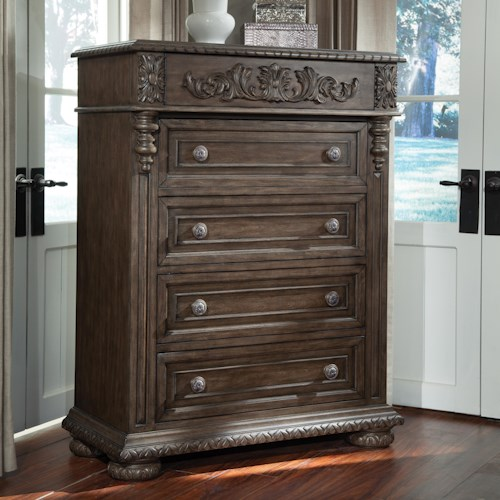 Belfort Basics Virginia Manor Drawer Chest with Carved Wood Work