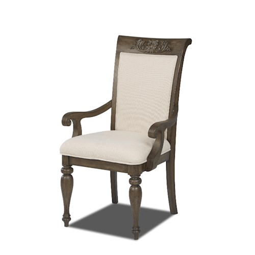Belfort Basics Virginia Manor Arm Chair with Upholstered Seat and Back and Turned Wood Legs