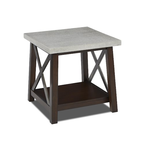 Klaussner International Viewpoint Square End Table with Concrete Top and Metal Details