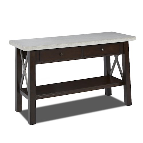 Klaussner International Viewpoint Sofa Table with Concrete Top and 2 Drawers