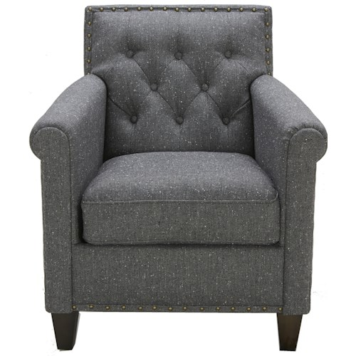 Urban Evolution Tristan Transitional Tufted Chair with Rolled Arms and Nailhead Trim