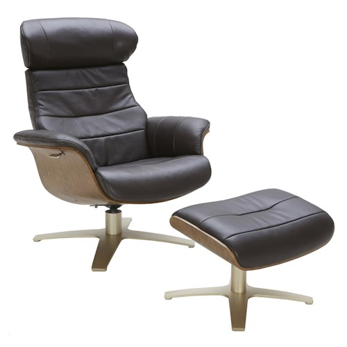 Urban Evolution Karma Leather Lean-Back Swivel Chair and Ottoman