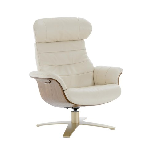 Kuka Home A928 Office-Style Swivel Chair with Reclining Back and Brown Wood Trim