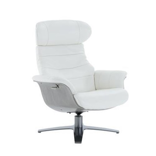 Kuka Home A928 Office-Style Swivel Chair with Reclining Back and Gray Wood Trim