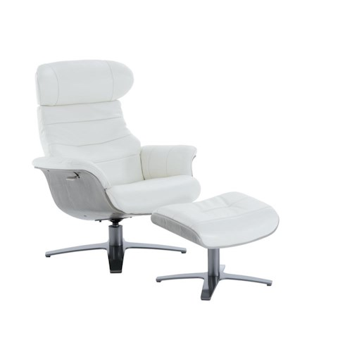 Kuka Home A928 Swivel Reclining Chair and Ottoman Set with Gray Wood Trim