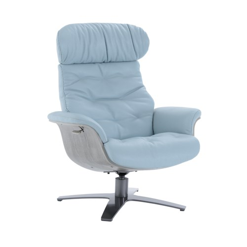 Kuka Home A938 Office-Style Swivel Chair with Reclining Back and Gray Wood Trim