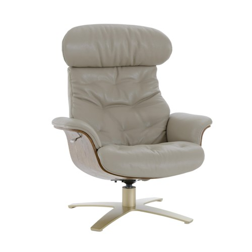 Kuka Home A938 Office-Style Swivel Chair with Reclining Back and Brown Wood Trim