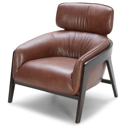 Urban Evolution A993 Mid Century Modern Leather Chair with Exposed Wood
